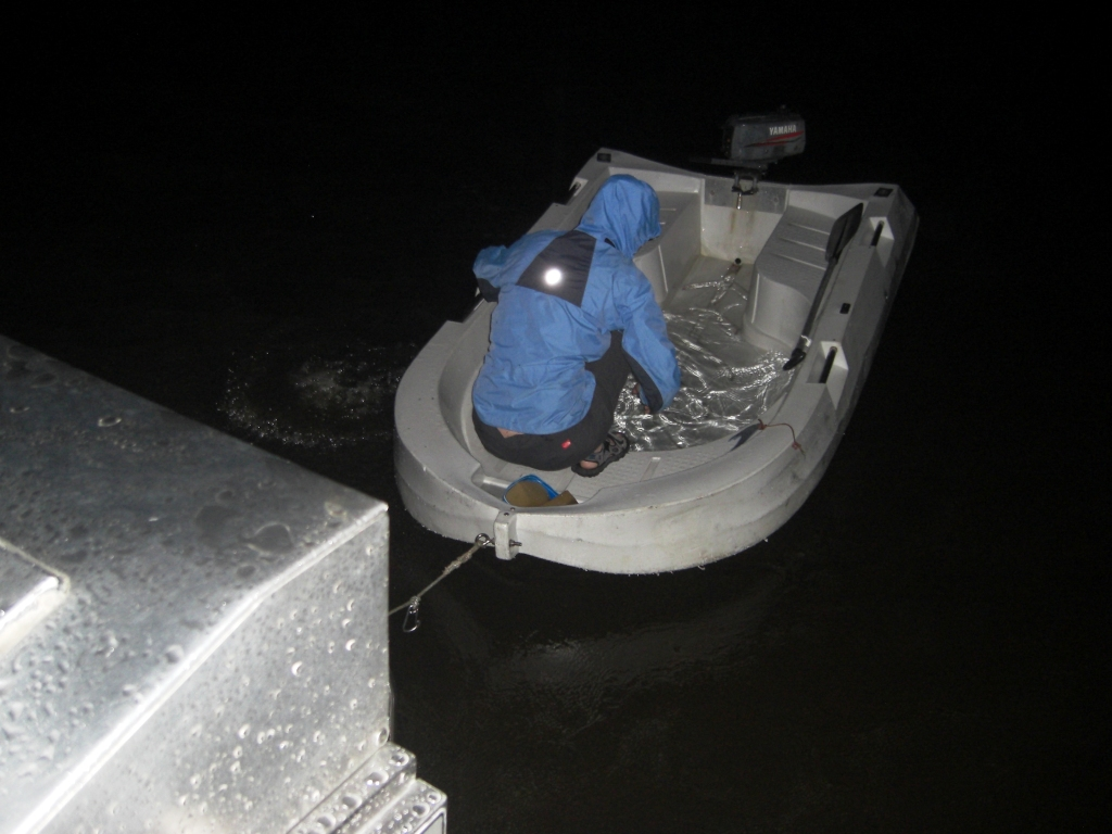 Bailing out the dinghy