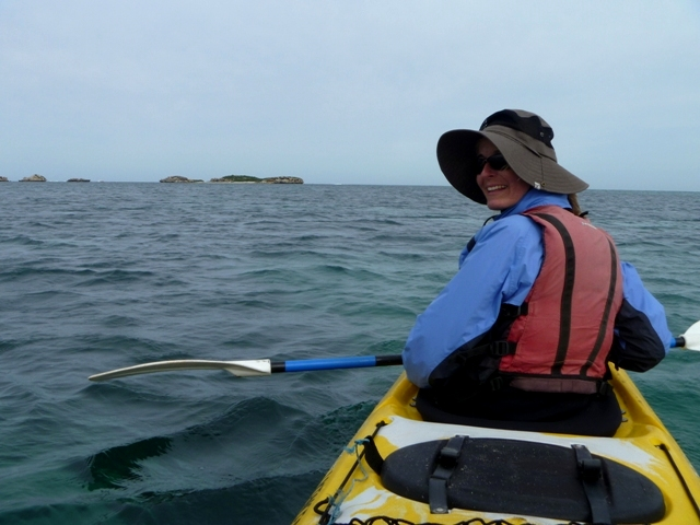 "Heading out to Shag Rock and Seal Island...in a double kayak (also known as the ""divorce maker"")"