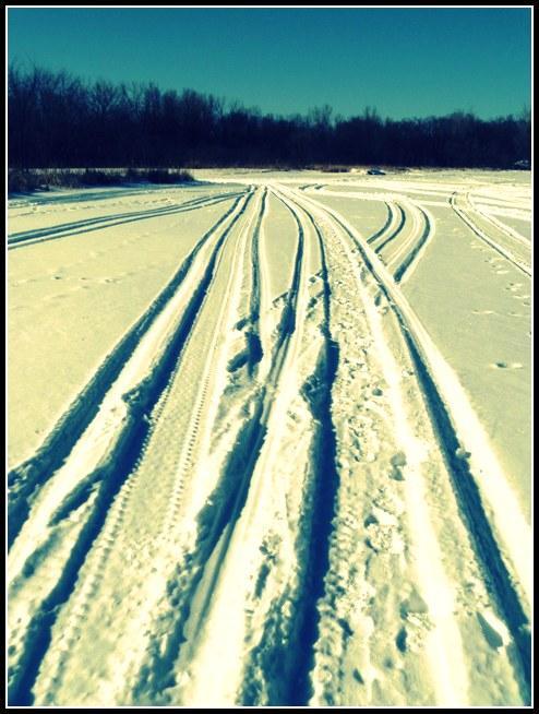 Snowmobile Tracks on Eagle Lake