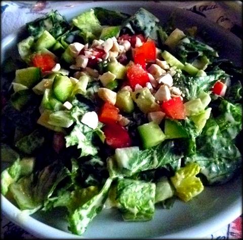 Creamy Dressing on romaine, cucumber, avocado, snap pea, tomato salad