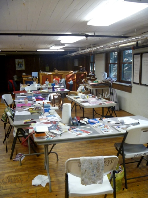 The room set up for bookmaking.