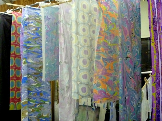 Marbled fabric drying