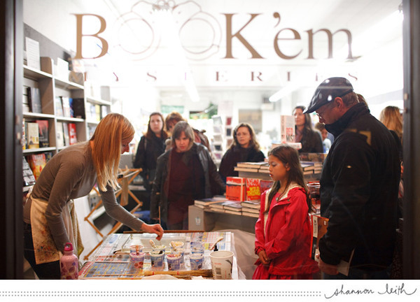 Barb demoing at Book 'em Mysteries Bookstore.