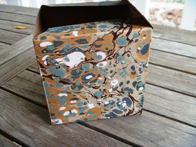 Close up of marbled box