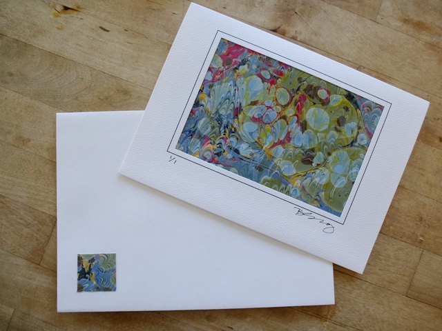 Note cards with Marbled Papers and matching envelopes