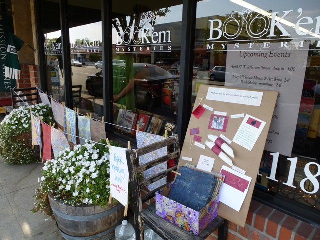 Arts Crawl ~ Papers drying outside Book'em
