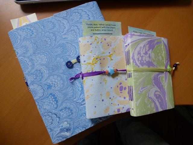 Marbled journals.