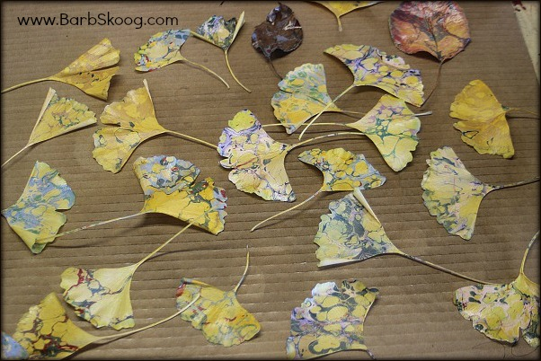 Marbled ginkgo leaves