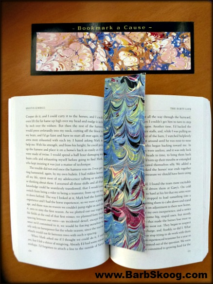 Hand-marbled bookmarks by Barb Skoog