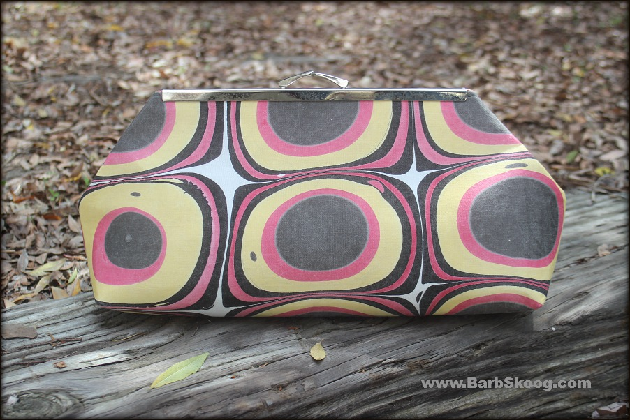 Back of clutch purse hand-sewn by Jeanie Joe using marbled fabric by Barb Skoog.