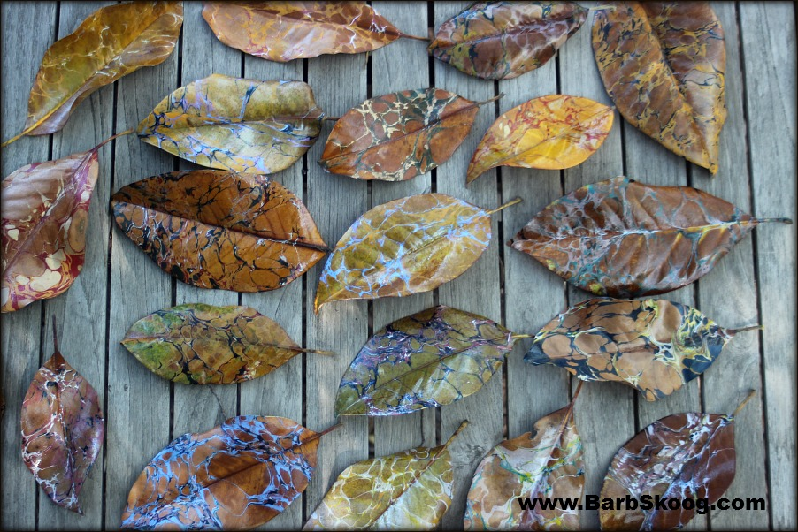 Marbled Magnoila Leaves by Barb Skoog.