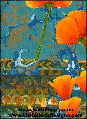 Collaboration between marbler Barb Skoog and painter Liz Kalloch