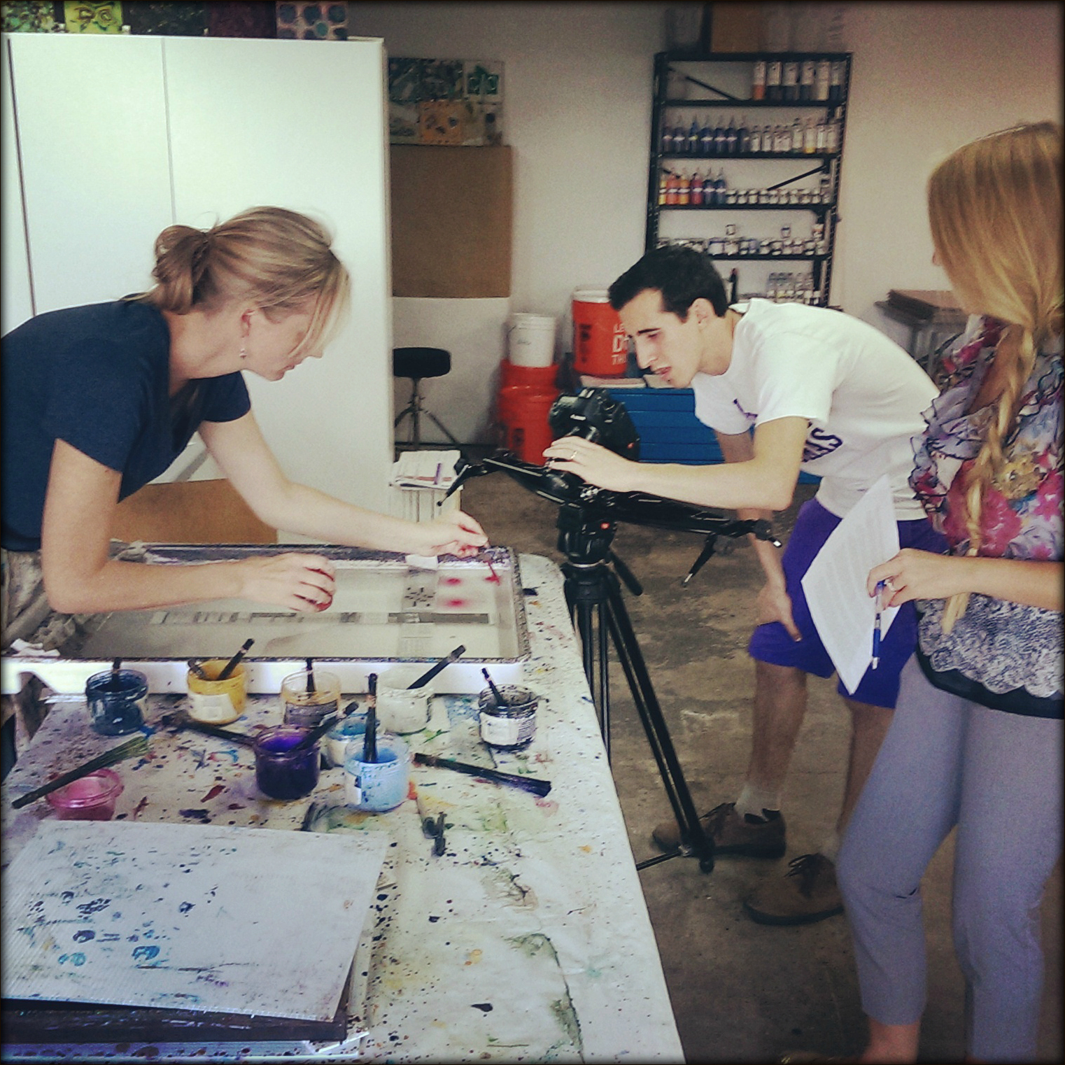 Filming a Marbling eCourse with marbler Barb Skoog
