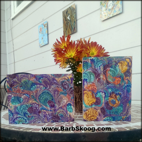 Golden's High Flow Acrylics as marbled by Barb Skoog.