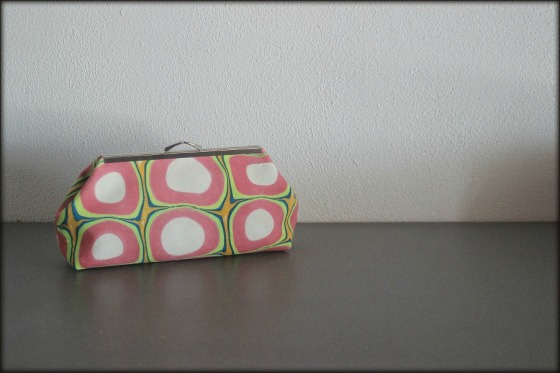 The Veronica Clutch made with marbled fabric by artist Barb Skoog