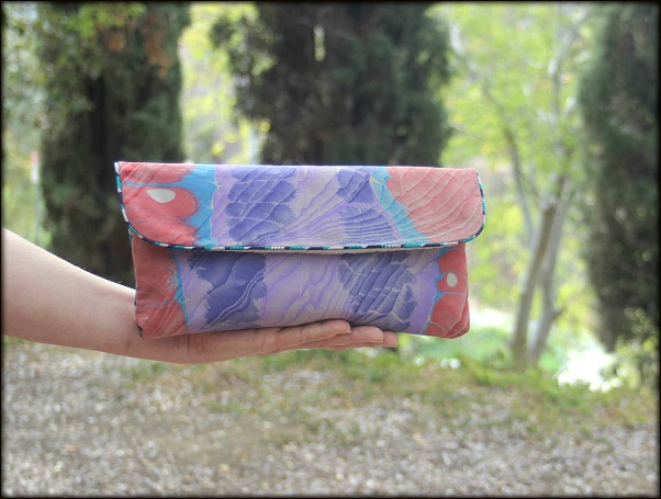 An Envelope Purse made with marbled fabric by artist Barb Skoog