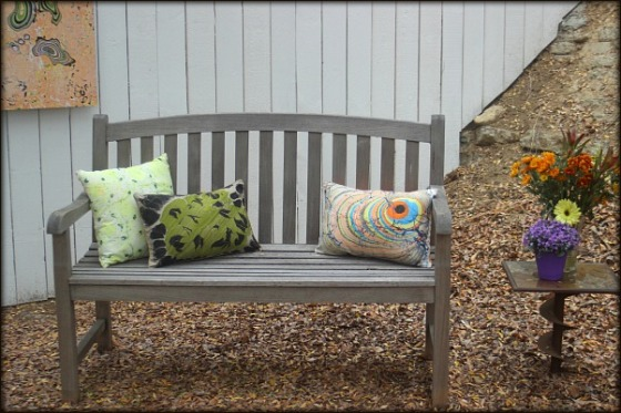Accent Pillows made with hand-marbled fabric by artist Barb Skoog