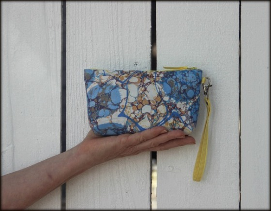 Madison Wristlet made with marbled fabric by Barb Skoog.