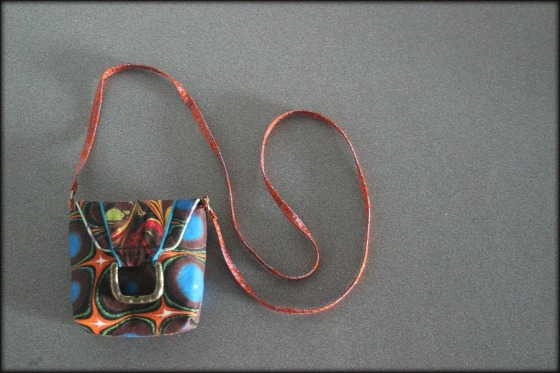 Mini-Barb Purse made with marbled fabric by artist Barb Skoog