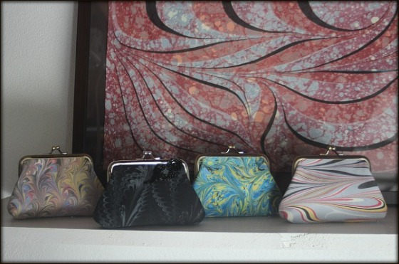 Nina Coin Purses made with marbled fabric by artist Barb Skoog