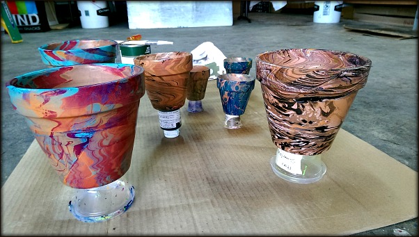 Marbled flower pots by Ebru Artist Barb Skoog
